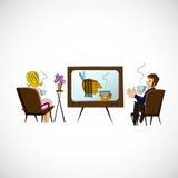 Le mari et l'épouse regardent la TV Croquis de vecteur Photographie stock