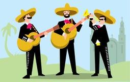 Le mariachi se réunissent dans le sombrero avec la guitare illustration stock