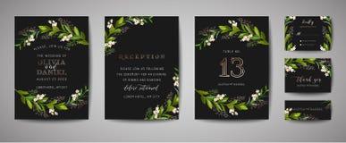Le mariage de luxe de cru de fleur font gagner la date, collection florale de cartes d'invitation avec le cadre de feuille d'or C illustration libre de droits