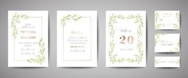 Le mariage de luxe de cru de fleur font gagner la date, collection florale de cartes d'invitation avec le cadre de feuille d'or c illustration stock