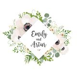 Le mariage floral de vecteur invitent le design de carte : Poupée argentée d'eucalyptus illustration libre de droits