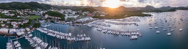 Le Marin Martinique, drone footage at sunrise. Sailboats in the marina and the mooring field Royalty Free Stock Photos