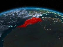 Le Maroc de l'espace la nuit Photo libre de droits