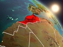 Le Maroc de l'espace pendant le lever de soleil Photo libre de droits