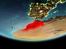Le Maroc la nuit sur terre Image libre de droits