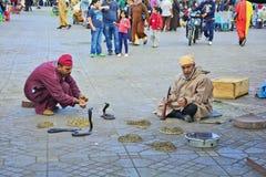 Le Maroc, Marrakech, charmeur de serpent Photographie stock