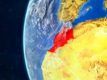 Le Maroc sur le globe de l'espace illustration libre de droits