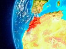 Le Maroc sur terre de l'espace illustration libre de droits