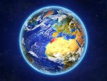 Le Maroc sur terre de l'espace illustration stock