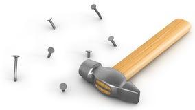 Le marteau avec peu a martelé et a déplié des clous Image stock