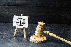 Le marteau du juge et le signe d'échelle Le concept de la cour et de l'ordre judiciaire, justice Respect pour les droites de l'ho photographie stock libre de droits