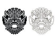 Le maschere del dio mitologico Stile di balinese Barong Illustrazione Vettoriale