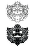 Le maschere del dio mitologico Stile di balinese Barong Illustrazione di Stock