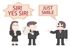 Le masque d'utilisation de dirigeant d'affaires du sourire pour l'ordre du patron Paper a coupé la conception illustration stock