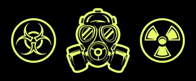 Le masque et le risque de gaz chante respirateur Signe de rayonnement Signe de Biohazard illustration libre de droits