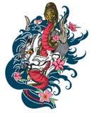 Le masque rouge d'Oni avec Sakura et la pivoine fleurissent Image stock
