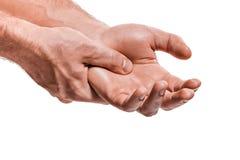 Le massage de mains de mâle photographie stock