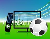 Le match de football à la TV folâtre le canal Image libre de droits