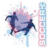 Le match de football, donnent un coup de pied une boule, style de grunge de composition illustration libre de droits
