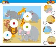 Le match rapièce le puzzle avec les caractères animaux illustration libre de droits