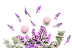 Le matin de Madame avec des macarons et le mauve fleurit la vue supérieure de fond blanc de bureau Photographie stock libre de droits