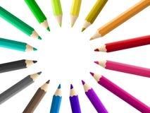 Le matite multicolori hanno sistemato il cerchio isolato Fotografia Stock Libera da Diritti