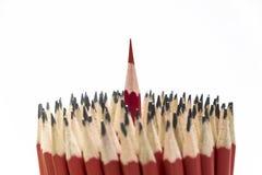 Le matite rosse stanno egualmente fuori dalle molte folle immagini stock libere da diritti