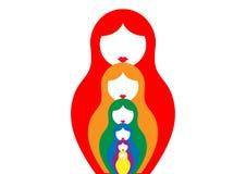 Le matrioshka russe de poupée d'emboîtement, a placé le symbole coloré d'icône de la Russie, Images libres de droits