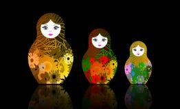Le matrioshka russe de poupées d'emboîtement, a placé le symbole coloré d'icône de la Russie Les fleurs multi ont coloré le style illustration libre de droits