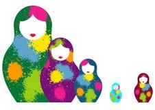Le matrioshka russe de poupées d'emboîtement, a placé le symbole coloré d'icône de la Russie Style coloré par éclaboussure Vecteu illustration de vecteur