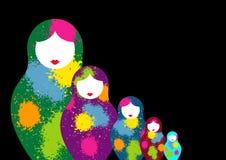 Le matrioshka russe de poupées d'emboîtement, a placé le symbole coloré d'icône de la Russie Style coloré par éclaboussure Vecteu illustration stock