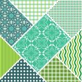 Le mattonelle decorative dell'estratto di vettore della rappezzatura nello stile hanno cucito le toppe del tessuto con l'ornament Immagini Stock Libere da Diritti