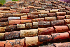 Le mattonelle di tetto arabe modellano la struttura a Teruel Spagna Immagini Stock Libere da Diritti