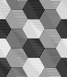 Le mattonelle geometriche con gli esagoni a strisce, Vector il modello senza cuciture Fotografie Stock Libere da Diritti