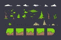 Le mattonelle hanno messo per il gioco di Platformer, progettazione al suolo dei giochi dei blocchetti di vettore senza cuciture Fotografia Stock