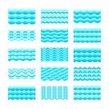 Le mattonelle senza cuciture di vettore di onda dell'acqua blu di pendenza hanno messo per i modelli e le strutture Immagine Stock Libera da Diritti