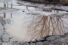 Le mauvais a asphalté la route avec un nid de poule rempli avec de l'eau Assiette de la route détruite dangereuse photographie stock