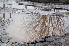 Le mauvais a asphalté la route avec un nid de poule rempli avec de l'eau Assiette de la route détruite dangereuse photos libres de droits