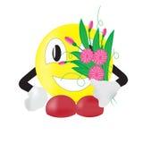 Le med en bukett av blommor Arkivfoto