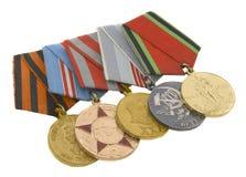 Le medaglie degli eroi sovietici Fotografie Stock