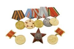 Le medaglie degli eroi sovietici Fotografie Stock Libere da Diritti