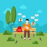 Le media social cause l'infographics plat de technologie de vecteur de transmission de messages Photographie stock