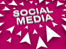 Le media social textote au centre entouré en dirigeant la flèche Images stock
