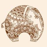 Le mehndi de henné de vecteur a décoré l'éléphant d'Asie illustration libre de droits