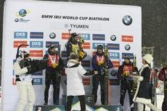 Le meilleur biathlete de la saison 2017/2018 Martin Fourcade France Photo libre de droits