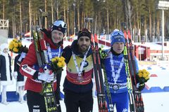 Le meilleur biathlete de la saison 2017/2018 Martin Fourcade France Photo stock