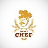 Le meilleur chef Abstract Vector Sign, symbole ou le Logo Template Rétro emblème de récompense Cuisinier Face dans un chapeau ave Illustration Libre de Droits
