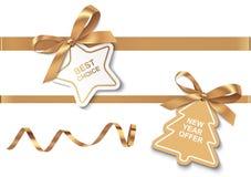 Le meilleur choix et labels de l'offre de nouvelle année avec les arcs et les rubans d'or illustration stock