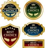 Le meilleur choix a garanti la collection de label de médaille d'or illustration stock