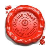 Le meilleur choix - timbre sur le joint rouge de cire. Photographie stock libre de droits